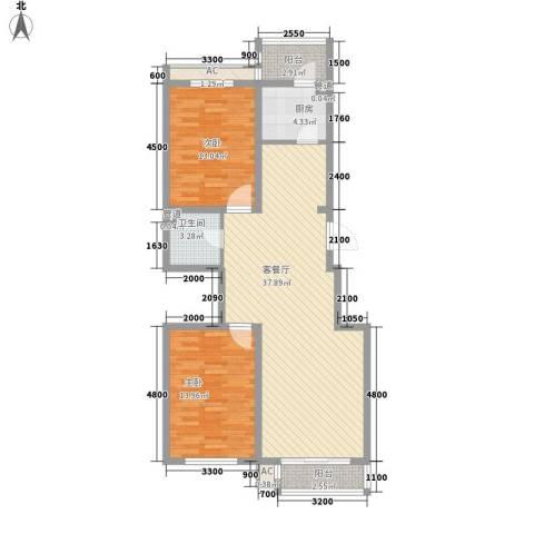 瑞盛佳园2室1厅1卫1厨107.00㎡户型图