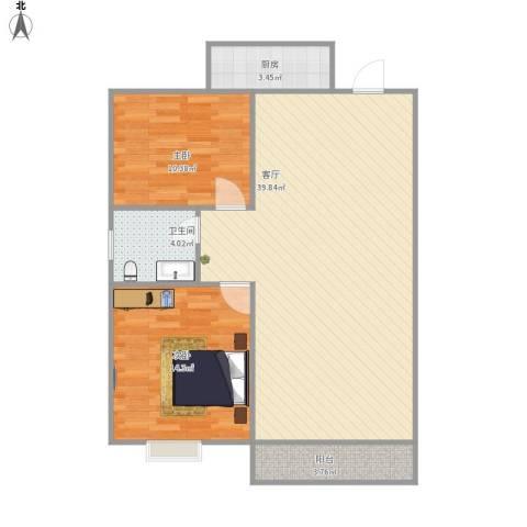 康逸豪园2室1厅1卫1厨101.00㎡户型图