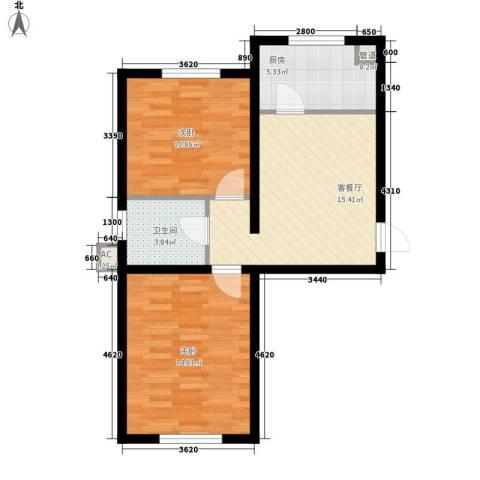 御龙湾2室1厅1卫1厨66.00㎡户型图