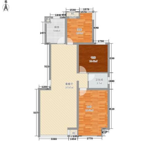 御龙湾3室1厅1卫1厨108.00㎡户型图