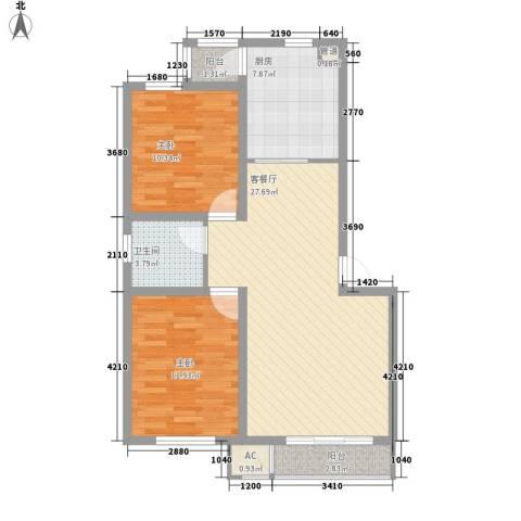御龙湾2室1厅1卫1厨86.00㎡户型图