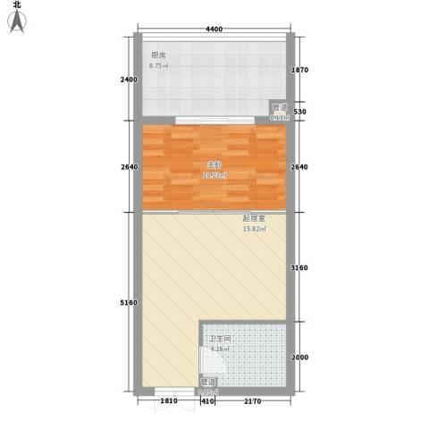 都市胜景1室0厅1卫1厨56.00㎡户型图