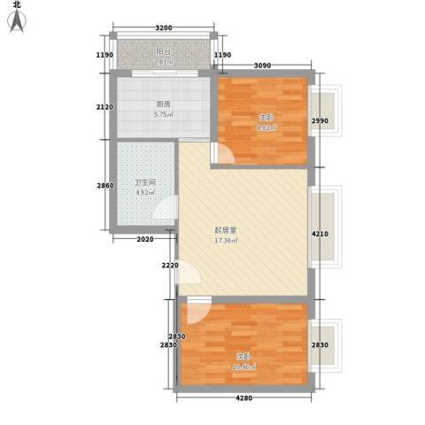 西山公馆2室0厅1卫1厨76.00㎡户型图
