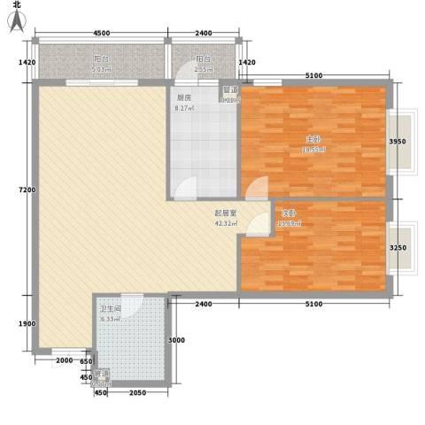 都市胜景2室0厅1卫1厨134.00㎡户型图