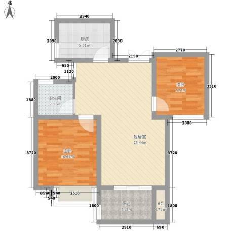 亚泰梧桐世家2室0厅1卫1厨75.00㎡户型图