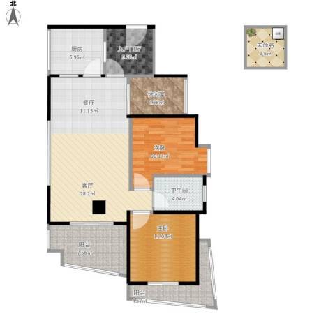 25度阳光2室1厅1卫1厨119.00㎡户型图