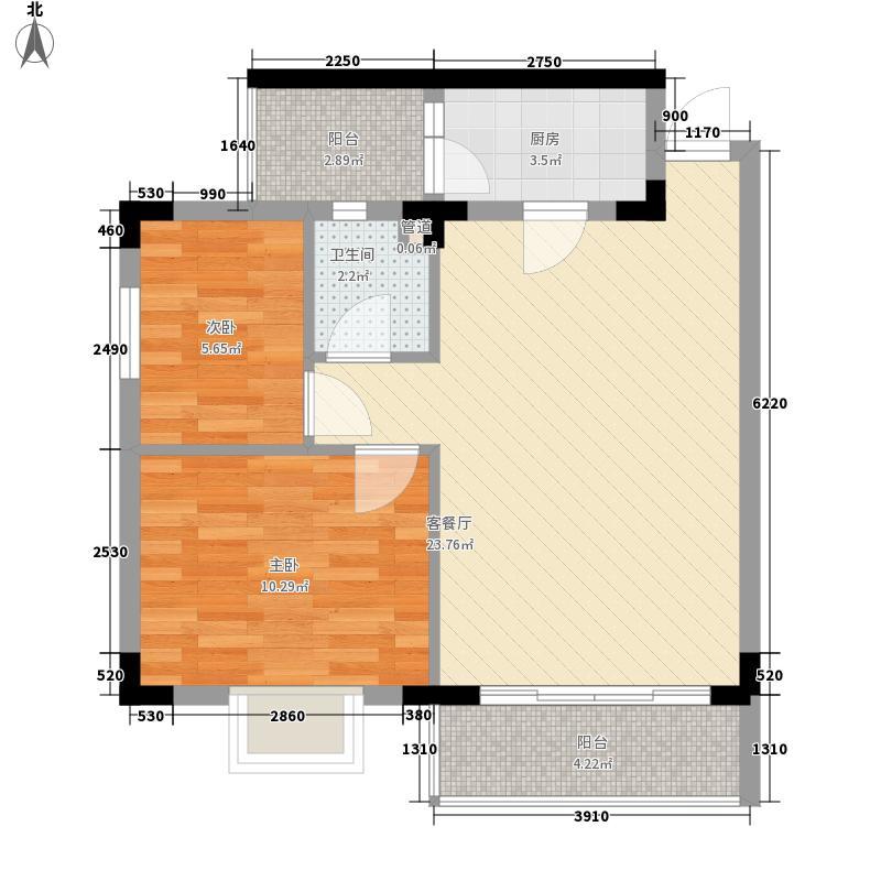 鳌泉仙居74.40㎡D户型2室2厅1卫1厨