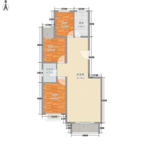 西山公馆3室0厅1卫1厨130.00㎡户型图