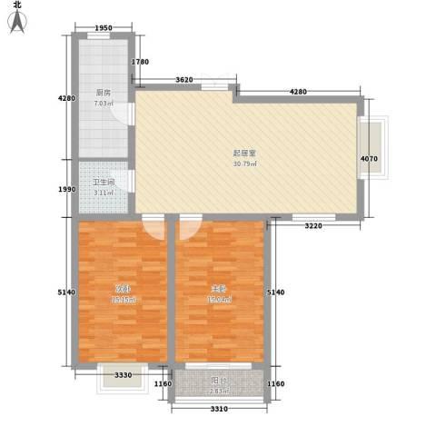 西山公馆2室0厅1卫1厨112.00㎡户型图