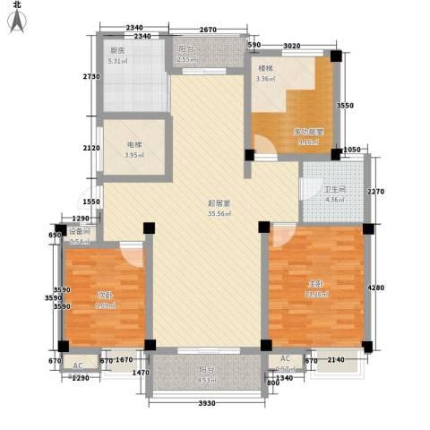 南城鸿福广场2室0厅1卫1厨89.47㎡户型图
