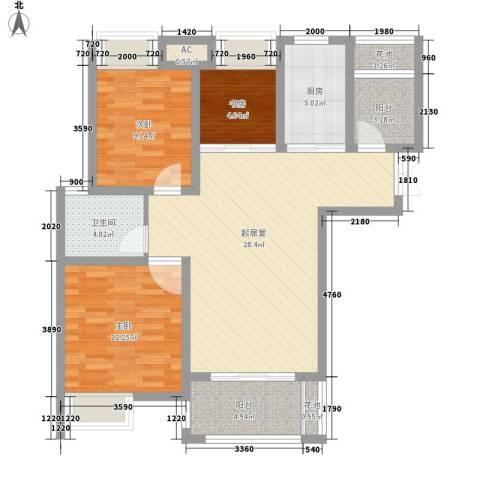 亚泰梧桐世家3室0厅1卫1厨98.00㎡户型图