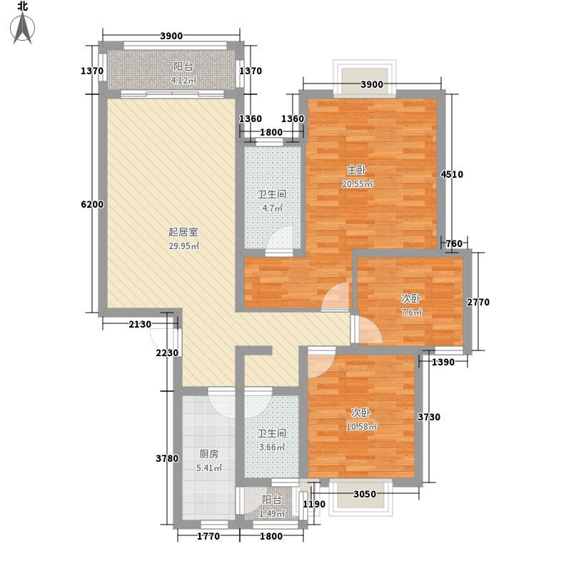 金狮小区顺海组团93.37㎡4、7、13、28号楼Da户型3室2厅1卫1厨
