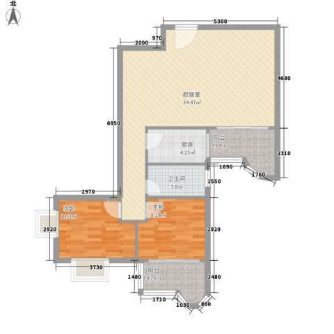豪景花园2室0厅1卫1厨98.00㎡户型图
