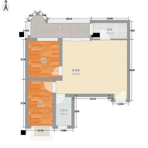 豪景花园2室0厅1卫1厨71.00㎡户型图