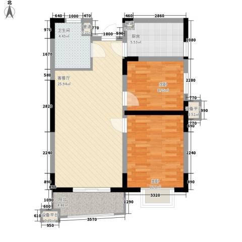 公园20462室1厅1卫1厨80.00㎡户型图