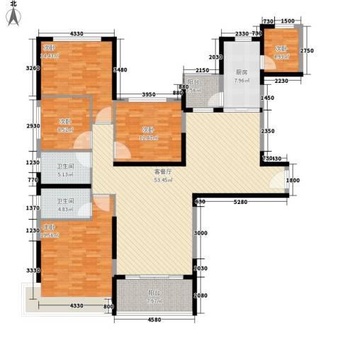 南昌恒大名都5室1厅2卫1厨161.00㎡户型图