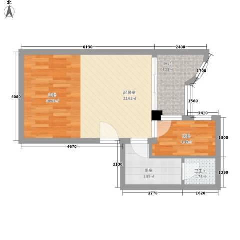 豪景花园1室0厅1卫1厨54.00㎡户型图