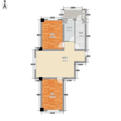 瑞盛佳园2室1厅1卫1厨94.00㎡户型图