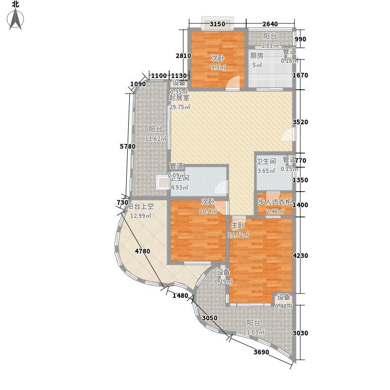 白金海岸12.36㎡奇数层西1套C户型3室2厅2卫1厨