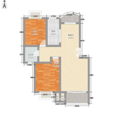 翡翠上南别墅2室1厅1卫1厨96.00㎡户型图