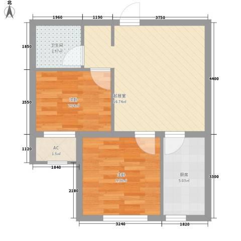 巴黎梦夏2室0厅1卫1厨55.00㎡户型图
