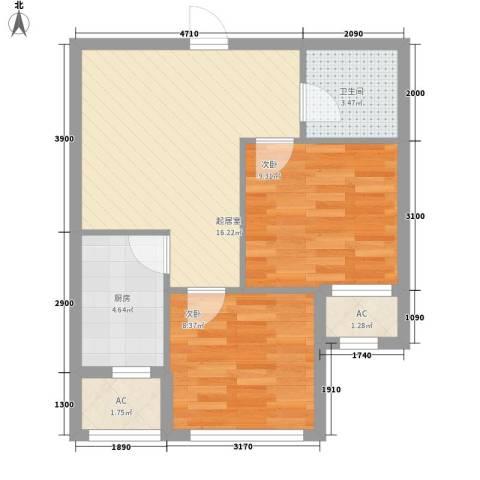 巴黎梦夏2室0厅1卫1厨59.00㎡户型图