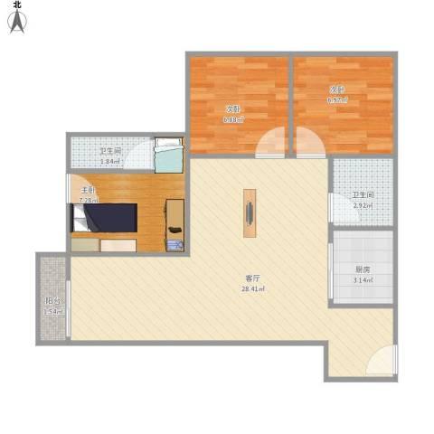 东明花园3室1厅2卫1厨80.00㎡户型图