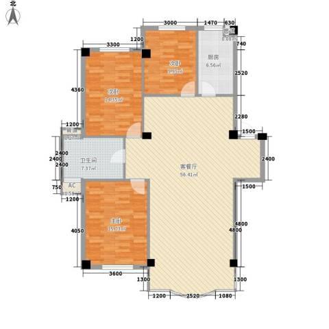 东大智慧鑫园3室1厅1卫1厨142.00㎡户型图