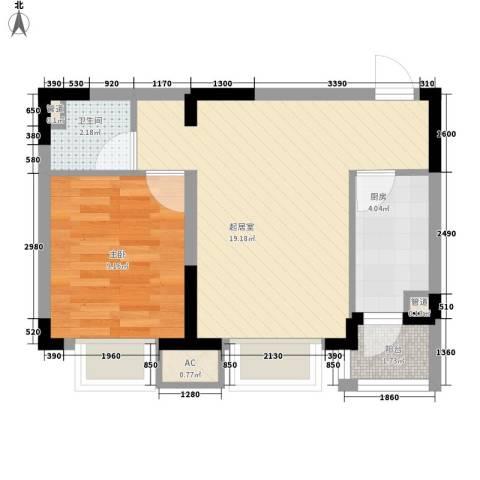 棠棣1室0厅1卫1厨55.00㎡户型图