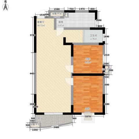 公园20462室1厅1卫1厨87.00㎡户型图