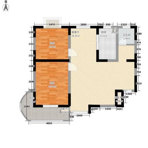 公园20462室1厅1卫1厨91.00㎡户型图