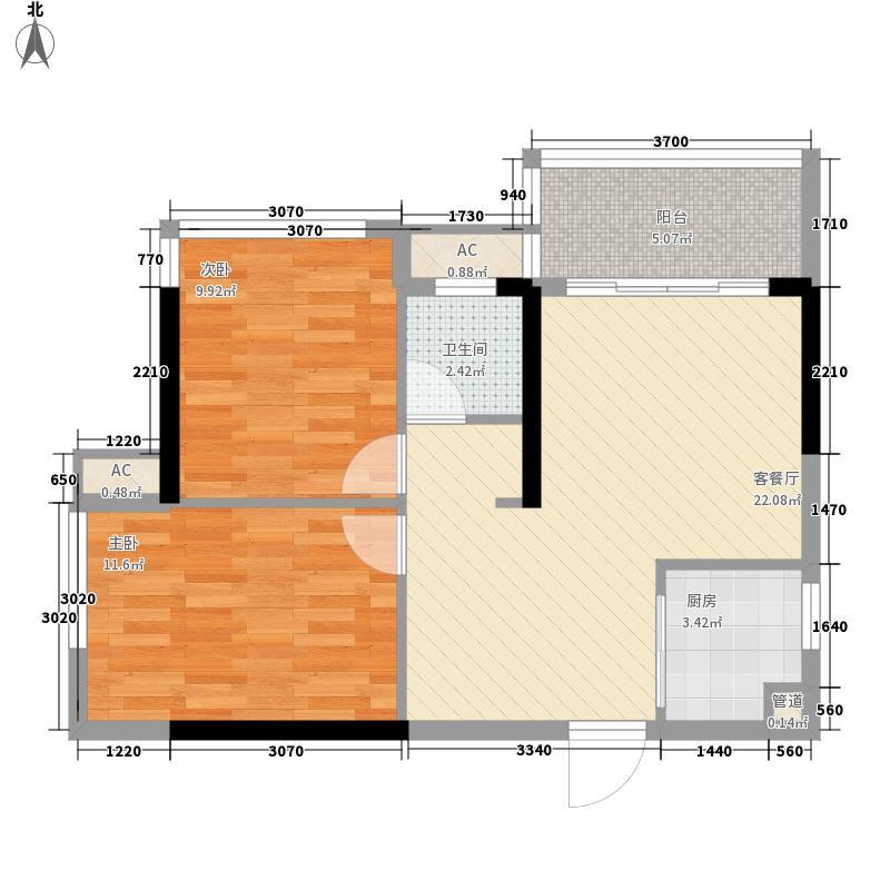 东方明珠花园_调整大小户型2室2厅1卫1厨