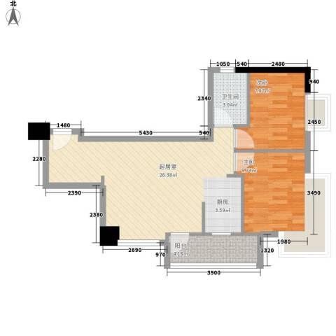 保利丰花园2室0厅1卫0厨72.00㎡户型图