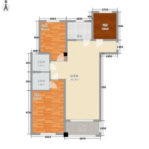 同科・汇丰国际3室0厅2卫1厨123.00㎡户型图