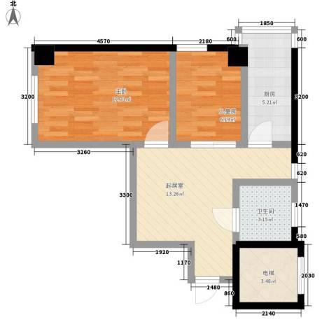 格林梦夏2室0厅1卫1厨64.00㎡户型图
