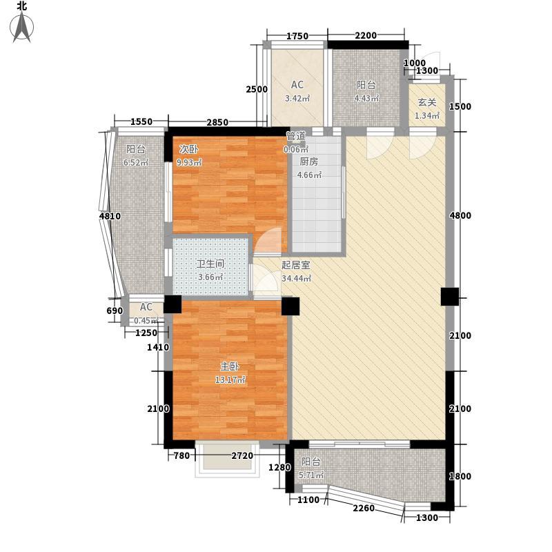 万宝城100.00㎡万宝城户型图B2户型2室2厅1卫1厨户型2室2厅1卫1厨