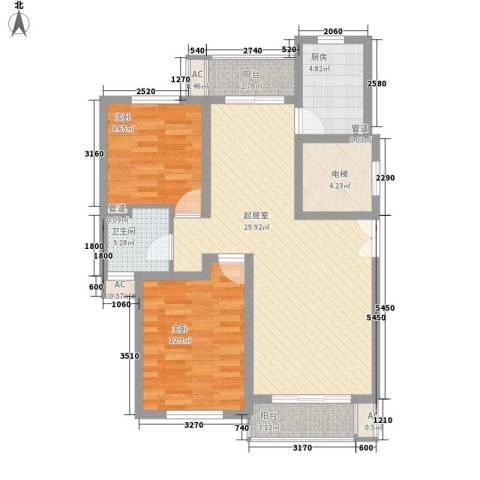 新时代景庭2室0厅1卫1厨103.00㎡户型图