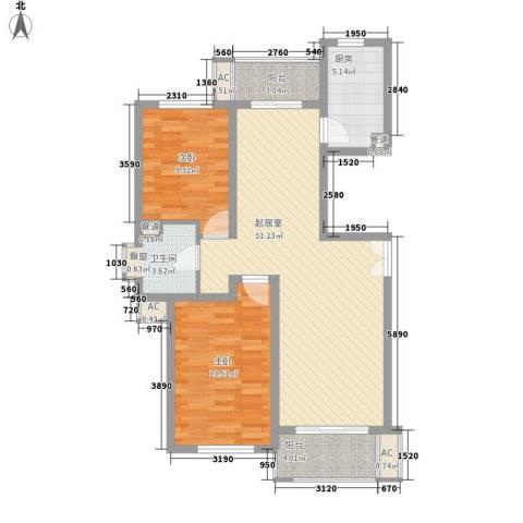 新时代景庭2室0厅1卫1厨104.00㎡户型图