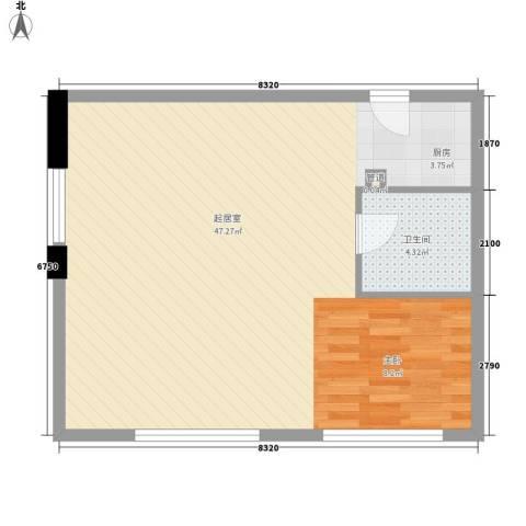 九星国际SOHO领寓1卫0厨70.00㎡户型图