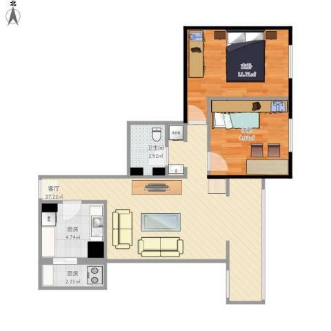 慧忠北里2室1厅1卫2厨80.00㎡户型图