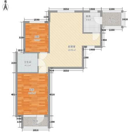凤凰山花园2室0厅1卫1厨82.00㎡户型图