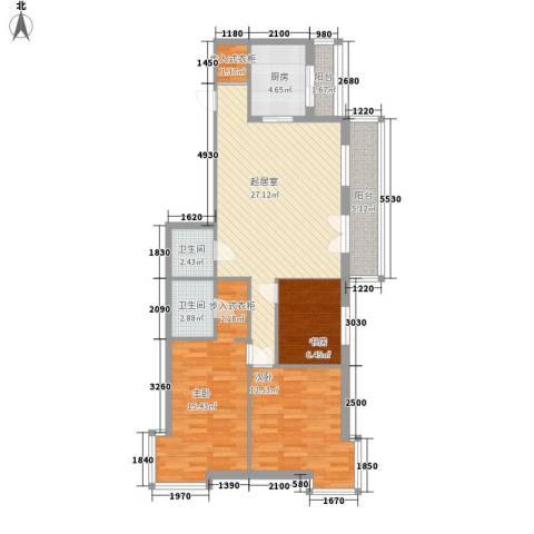 星河国际3室0厅2卫1厨114.00㎡户型图