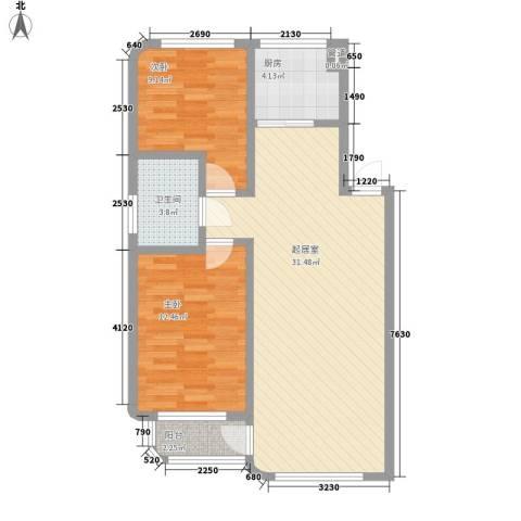 芳菲苑2室0厅1卫1厨75.00㎡户型图