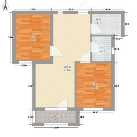 安邦北湾2室0厅1卫1厨69.00㎡户型图