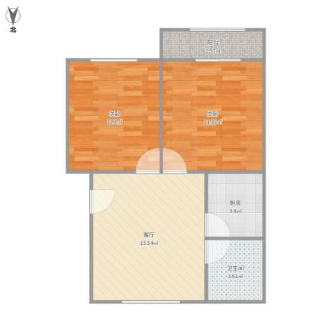 平阳三村2室1厅1卫1厨65.00㎡户型图