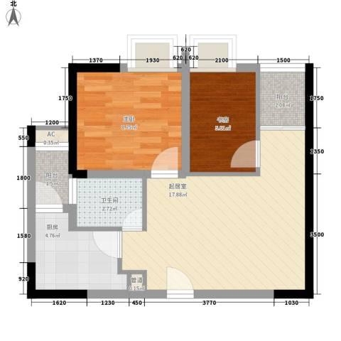 紫薇西城映画2室0厅1卫1厨48.00㎡户型图