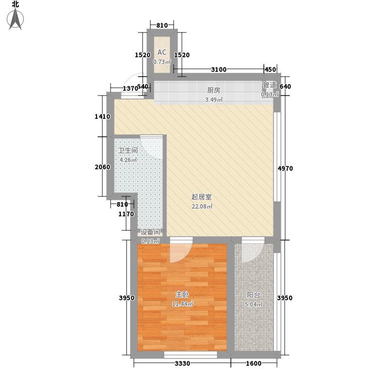 望海风情海岸63.46㎡E11/E16-Y1户型1室1厅1卫1厨