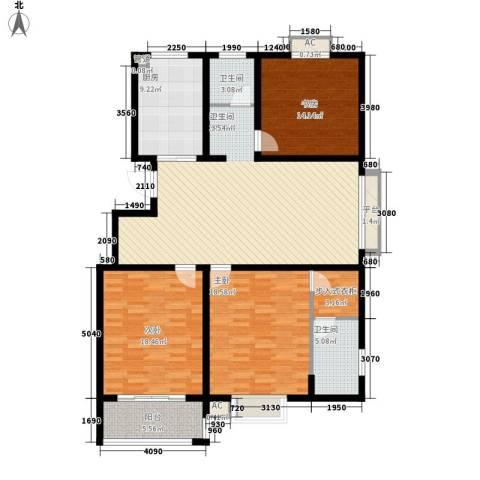 华夏太阳城3室1厅2卫1厨130.00㎡户型图