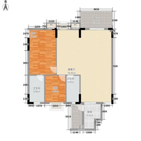 金美花园金泽台2室1厅2卫1厨120.00㎡户型图