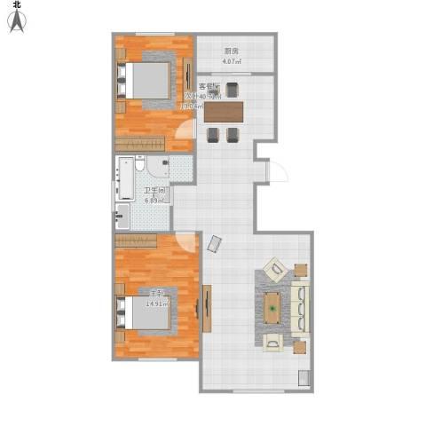 宝地・曼哈顿2室1厅1卫1厨106.00㎡户型图